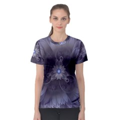Amazing Fractal Triskelion Purple Passion Flower Women s Sport Mesh Tee
