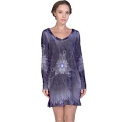 Amazing Fractal Triskelion Purple Passion Flower Long Sleeve Nightdress