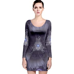 Amazing Fractal Triskelion Purple Passion Flower Long Sleeve Velvet Bodycon Dress