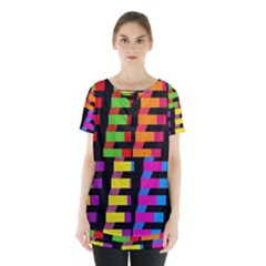 Colorful Rectangles And Squares                            Skirt Hem Sports Top