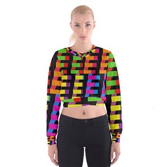 Colorful rectangles and squares                          Women s Cropped Sweatshirt
