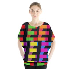 Colorful rectangles and squares                           Batwing Chiffon Blouse