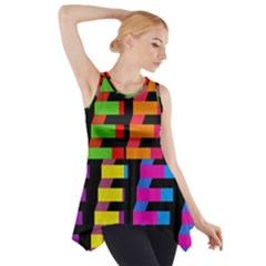 Colorful rectangles and squares                        Side Drop Tank Tunic