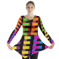 Colorful rectangles and squares                        Long Sleeve Tunic