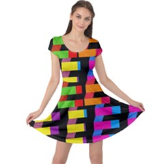 Colorful rectangles and squares                       Cap Sleeve Dress