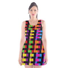 Colorful Rectangles And Squares                   Scoop Neck Skater Dress