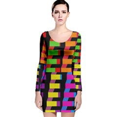 Colorful rectangles and squares                        Long Sleeve Velvet Bodycon Dress