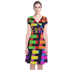 Colorful rectangles and squares                   Short Sleeve Front Wrap Dress