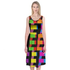 Colorful rectangles and squares                  Midi Sleeveless Dress