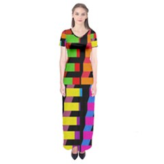 Colorful rectangles and squares                   Short Sleeve Maxi Dress