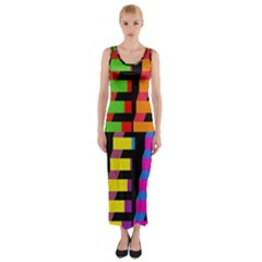 Colorful Rectangles And Squares                        Fitted Maxi Dress