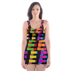 Colorful rectangles and squares                        Skater Dress Swimsuit
