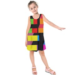 Colorful rectangles and squares                       Kid s Sleeveless Dress