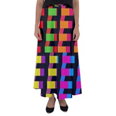 Colorful Rectangles And Squares                      Flared Maxi Skirt