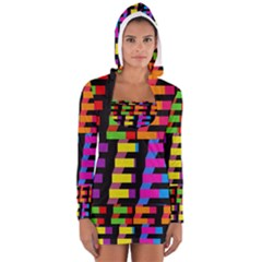 Colorful rectangles and squares                        Women s Long Sleeve Hooded T-shirt