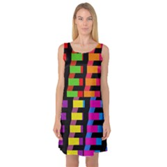 Colorful rectangles and squares                        Sleeveless Satin Nightdress