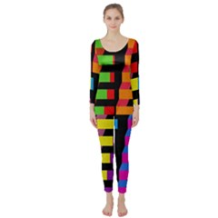 Colorful rectangles and squares                  Long Sleeve Catsuit