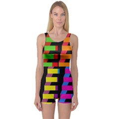 Colorful rectangles and squares                        Women s Boyleg One Piece Swimsuit