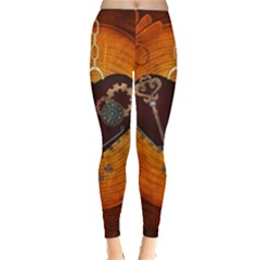 Steampunk, Heart With Gears, Dragonfly And Clocks Leggings