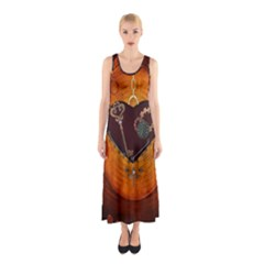 Steampunk, Heart With Gears, Dragonfly And Clocks Sleeveless Maxi Dress