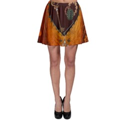Steampunk, Heart With Gears, Dragonfly And Clocks Skater Skirt