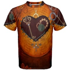 Steampunk, Heart With Gears, Dragonfly And Clocks Men s Cotton Tee