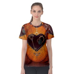Steampunk, Heart With Gears, Dragonfly And Clocks Women s Sport Mesh Tee