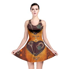 Steampunk, Heart With Gears, Dragonfly And Clocks Reversible Skater Dress