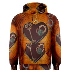 Steampunk, Heart With Gears, Dragonfly And Clocks Men s Pullover Hoodie