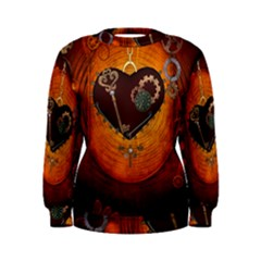 Steampunk, Heart With Gears, Dragonfly And Clocks Women s Sweatshirt