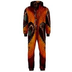 Steampunk, Heart With Gears, Dragonfly And Clocks Hooded Jumpsuit (Men)