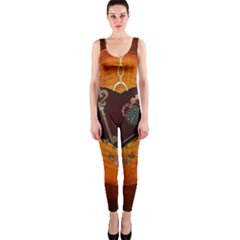 Steampunk, Heart With Gears, Dragonfly And Clocks OnePiece Catsuit