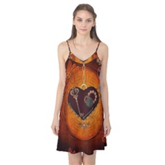 Steampunk, Heart With Gears, Dragonfly And Clocks Camis Nightgown