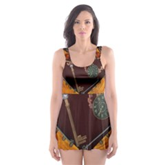 Steampunk, Heart With Gears, Dragonfly And Clocks Skater Dress Swimsuit