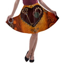 Steampunk, Heart With Gears, Dragonfly And Clocks A-line Skater Skirt