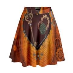 Steampunk, Heart With Gears, Dragonfly And Clocks High Waist Skirt