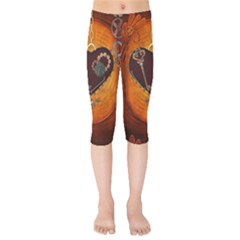 Steampunk, Heart With Gears, Dragonfly And Clocks Kids  Capri Leggings