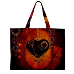 Steampunk, Heart With Gears, Dragonfly And Clocks Mini Tote Bag