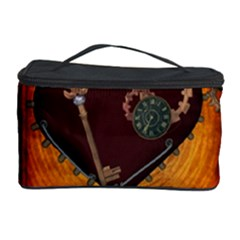 Steampunk, Heart With Gears, Dragonfly And Clocks Cosmetic Storage Case