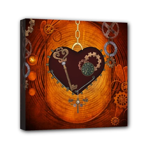 Steampunk, Heart With Gears, Dragonfly And Clocks Mini Canvas 6  x 6