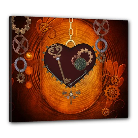 Steampunk, Heart With Gears, Dragonfly And Clocks Canvas 24  x 20