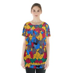 Stained glass                            Skirt Hem Sports Top