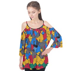 Stained glass                   Flutter Sleeve Tee