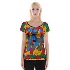 Stained glass                        Women s Cap Sleeve Top