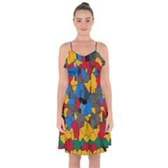 Stained Glass             Ruffle Detail Chiffon Dress