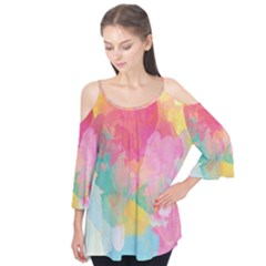 Pastel Watercolors Canvas                   Flutter Sleeve Tee