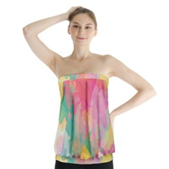 Pastel watercolors canvas                           Strapless Top