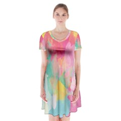 Pastel watercolors canvas                            Short Sleeve V-neck Flare Dress