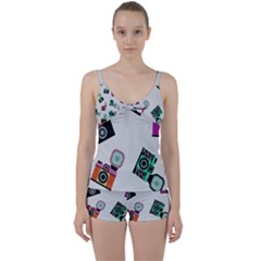 Old Cameras Pattern                  Tie Front Two Piece Tankini