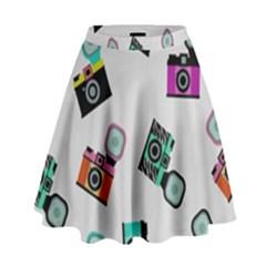 Old cameras pattern                          High Waist Skirt